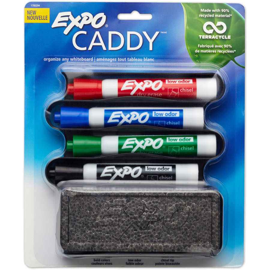 EXPO Mountable Whiteboard Caddy with 4 Markers/Eraser Set