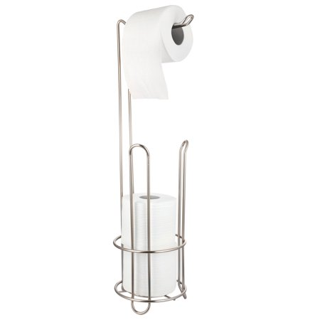 AMG Free Standing Toilet Tissue Paper Holder with Dispenser and Reserve in Satin Nickel