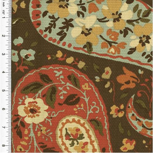 Designer Cotton Brown/Orange Paisley Print Decorating Fabric, Fabric By the Yard