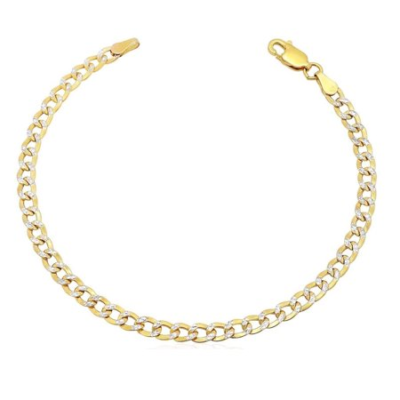 - 10k Yellow Gold Diamond Cut 3.5mm Cuban Curb Link Chain Kid's Bracelet 7''