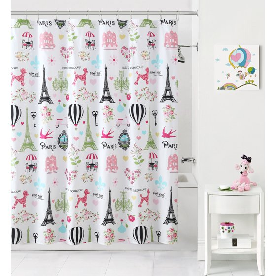 Mainstays™ Kids I Love Paris Pink/Black Fabric Shower Curtain ...