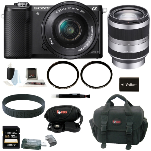 Sony Alpha A5000 Mirrorless Digital Camera (Black) with 16-50mm and 18-200mm Lens Bundle and 32GB Deluxe Accessory Kit
