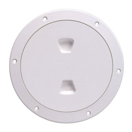 Beckson Screw Out Deck Plate with Standard Trim Ring, Smooth Center