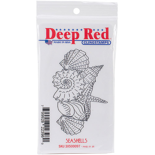"Deep Red Cling Stamp, 2"" x 3.5"", Seashells"
