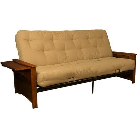 Bayview Attached End Table True 8 Inch Loft Cotton Foam Futon Sofa Sleeper Bed Queen Size Walnut Arms Twill Khaki Com