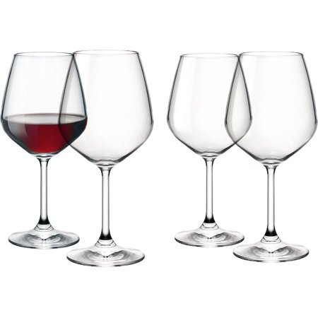 Italian Red Wine Glasses - 18 Ounce - Lead Free - Shatter Resistant - Wine Glass Set of 4, Clear, From US,Brand