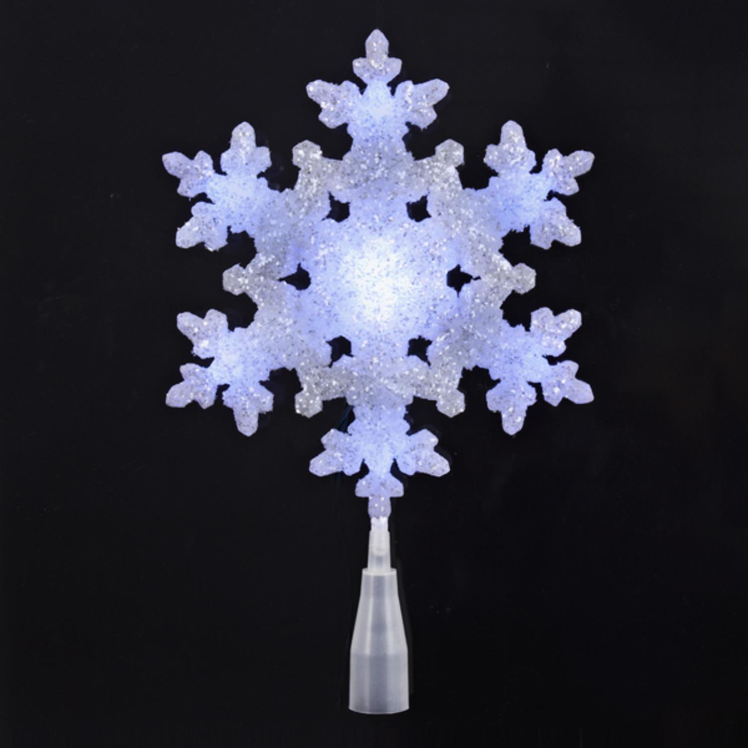"""9.25"""" LED Lighted White and Blue Sparkly Snowflake Christmas Tree Topper - Clear Lights"""