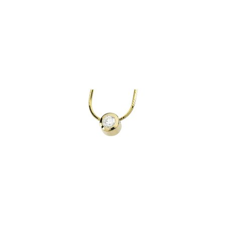 14k Yellow Gold 1/4 Ct Diamond Solitaire Bezel Set Pendant Snake Chain 18