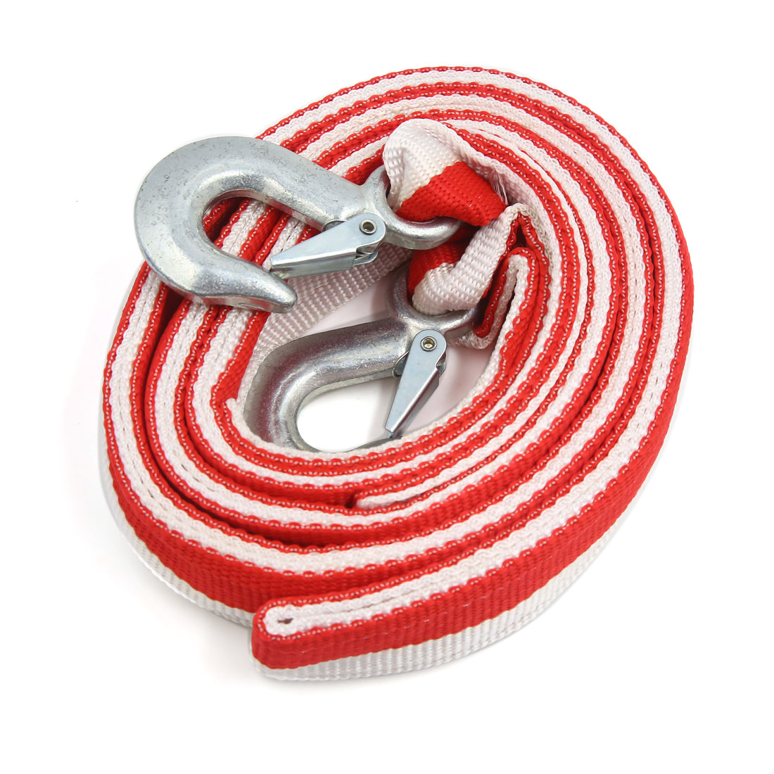 3.5m Red Towing Strap Rope Cable Car Vehicle Recovery Rescue Tools w 2 Hooks by Unique Bargains