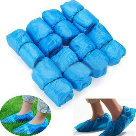 100PCS Waterproof Boot Cover Plastic Disposable Shoe Covers Overshoes Protective ()