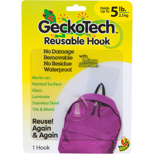 GeckoTech Reusable Hooks with Microsuction Technology, 5 lb, Clear