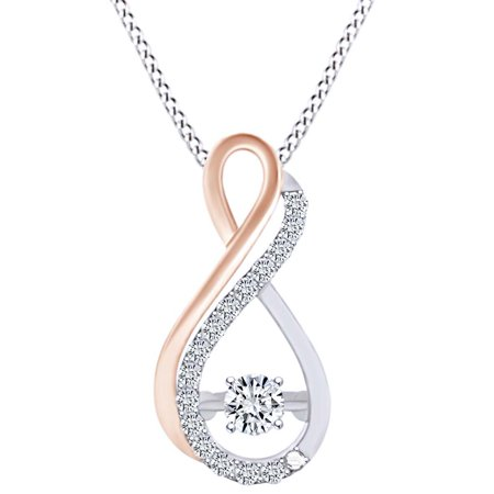 1/7 Carat White Natural Dancing Diamond Two Tone Infinity Pendant Necklace In 10k Solid White Gold (0.14 Cttw)
