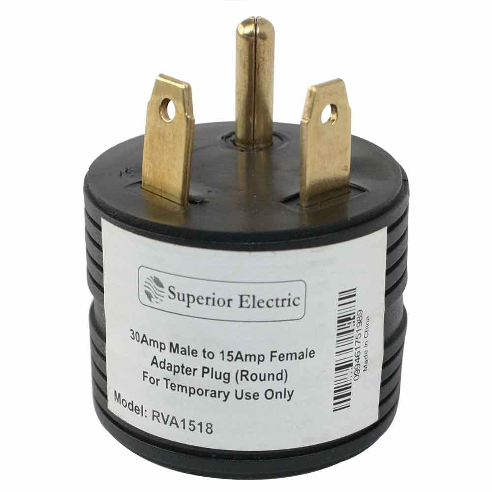 RVA1518 RV Electrical Adapter 30 Amp Male to 15 Amp Female Plug Round Grip Motorhome, Specifications: By Superior Electric
