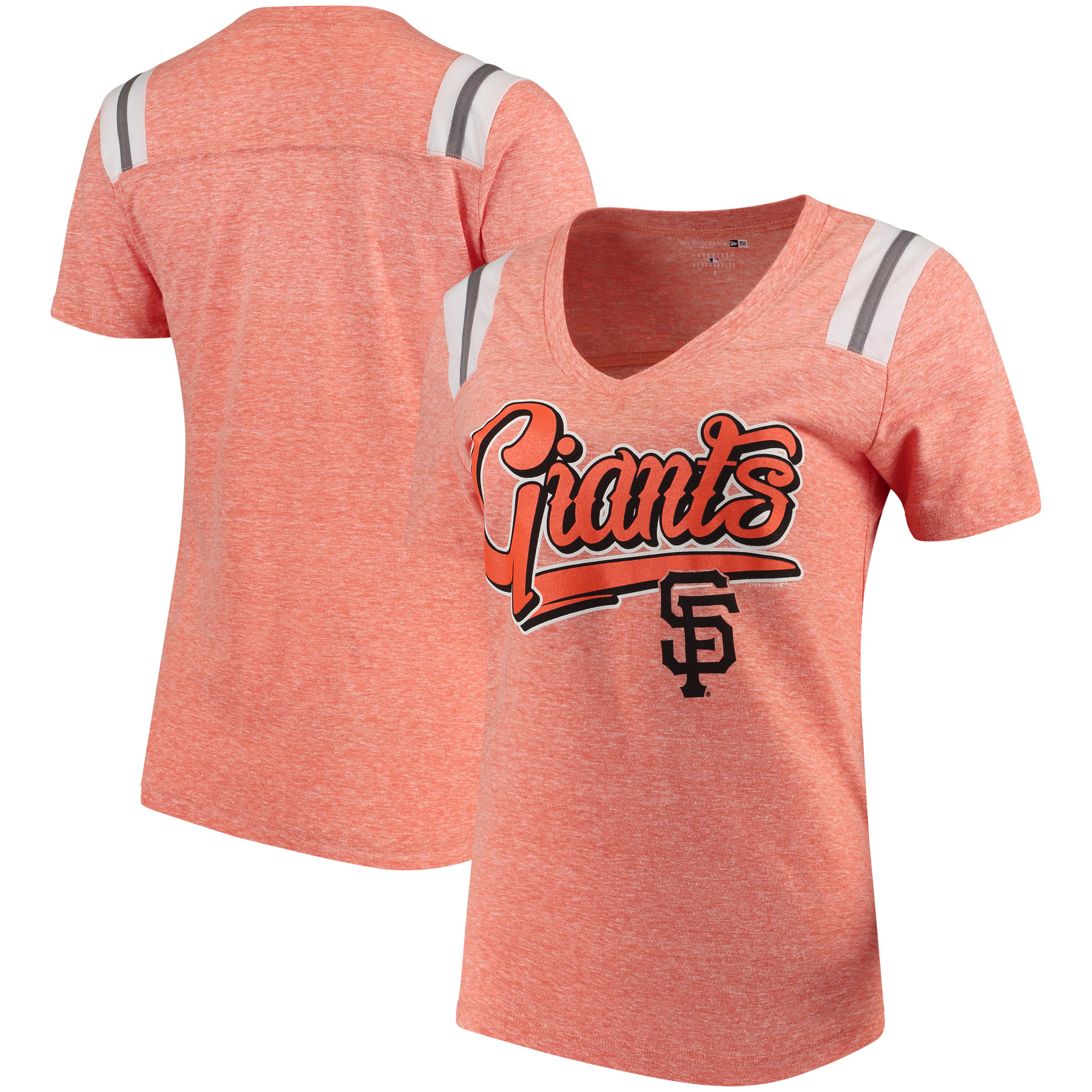Women's 5th & Ocean by New Era Orange/White San Francisco Giants Tri-Blend V-Neck T-Shirt with Shoulder Inserts