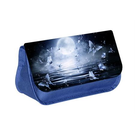 Butterflies - Blue Medium Sized Makeup Bag with 2 Zippered Pockets and Velcro Closure - Butterfly Makeup