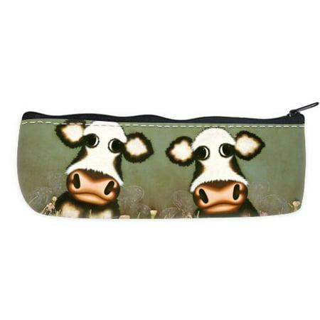 POPCreation Dairy Cow Haystack Flower School Pencil Case Pencil Bag Zipper Organizer Bag
