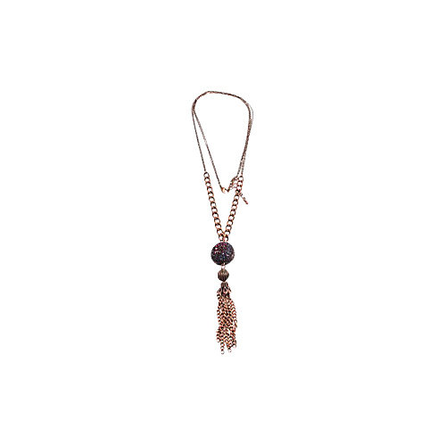 Alexa Starr Burnished Copper Tassel Necklace With A Tonal Pink And Purple Rhinestone Fireball