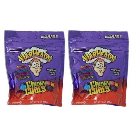 Warheads Chewy Cubes 10oz (2 Pack) Mildy Sour Wildy Sweet Candy](Warheads Extreme Sour)