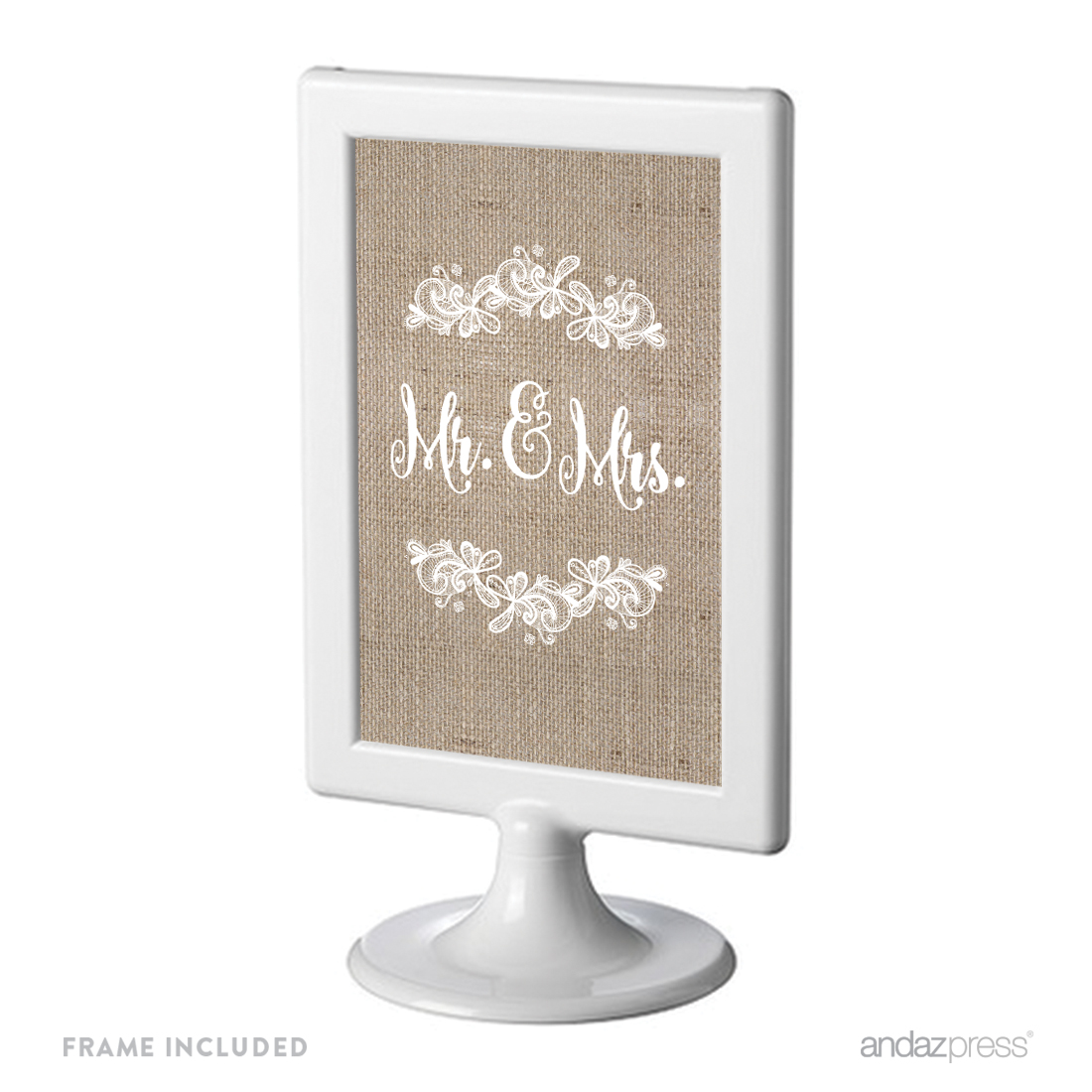 Mr. & Mrs. Burlap Lace Wedding Framed Party Signs