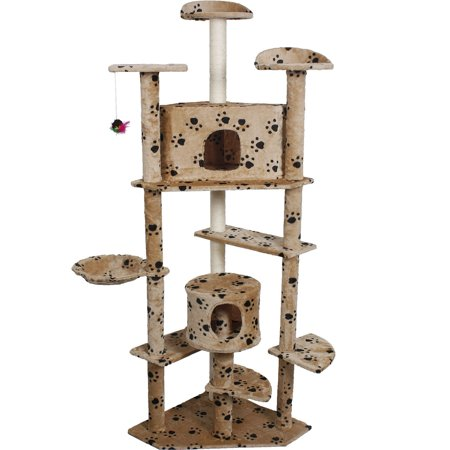 Costway Beige Paws New 80 39 39 Cat Tree Condo Furniture Scratch Post Pet House