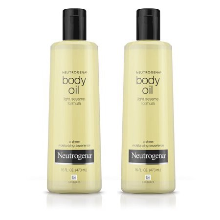 (2 pack) Neutrogena Moisturizing Body Oil, Light Sesame Formula, 16 fl. oz