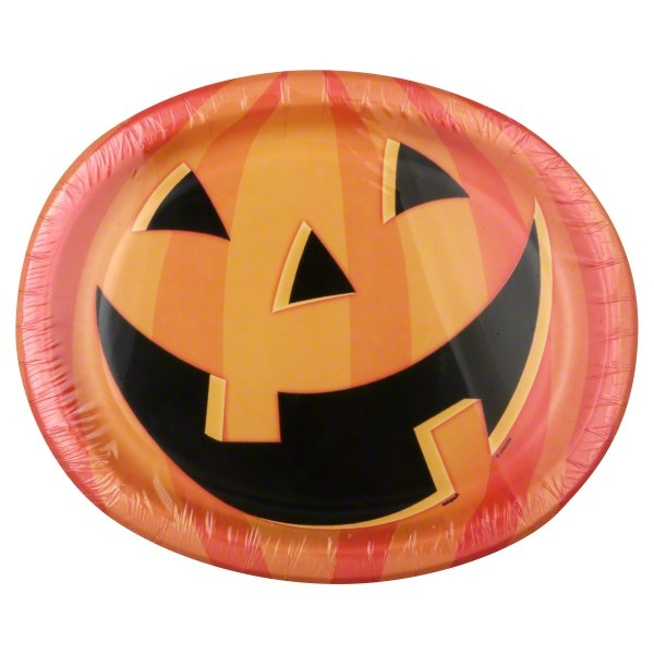 Smiling Pumpkin Halloween Oval Paper Plates 12.25 in 8ct  sc 1 st  Walmart & Smiling Pumpkin Halloween Oval Paper Plates 12.25 in 8ct - Walmart.com