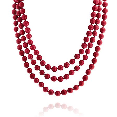 Red Endless Layering Long Strand Boho Fashion Simulated Coral Beads Necklace For Women For Teen 69 Inch (Shape Red Coral Necklace)