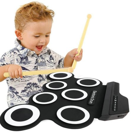 Portable USB Electronic Drum Kit Foldable Silicone Hand Roll-up Jazz Drum  For Beginners and Children Practice with Foot Pedal