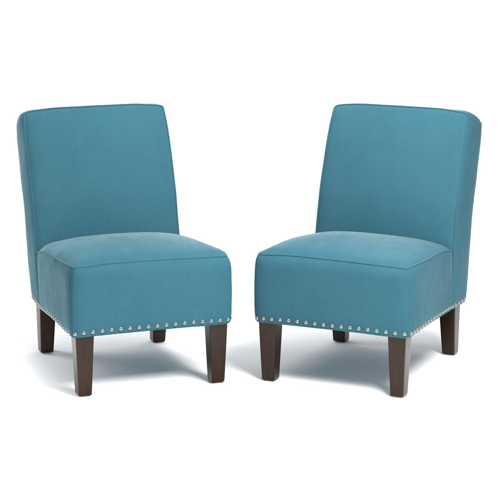 Brodee Armless Chair in Velvet, Multiple Colors (Set of 2)