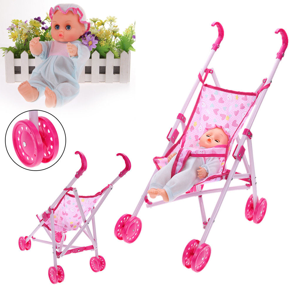 Foldable Pushchair Pram Kid Trolley+Doll Baby Buggy Stroller Toy Girl Child Gift