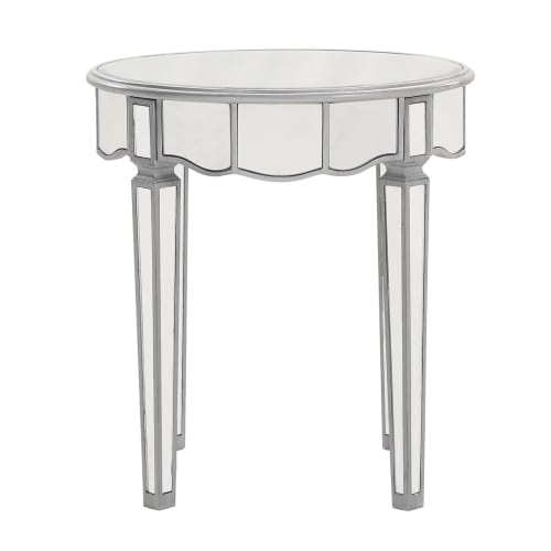 Elegant Lighting Mirrored Lamp Table, Silver by Elegant Lighting