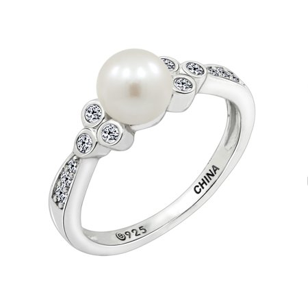Plated Cultured Freshwater Pearl Ring (Gemour Platinum Plated Sterling Silver Cubic Zirconia Freshwater Cultured Pearl Ring, Size 9)