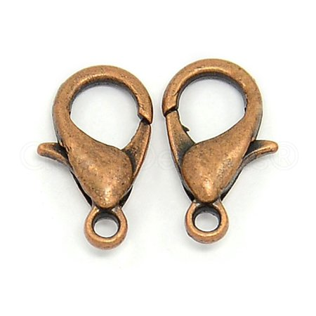 100 Pack - CleverDelights Lobster Clasps - 12x6mm - Antique Copper Color