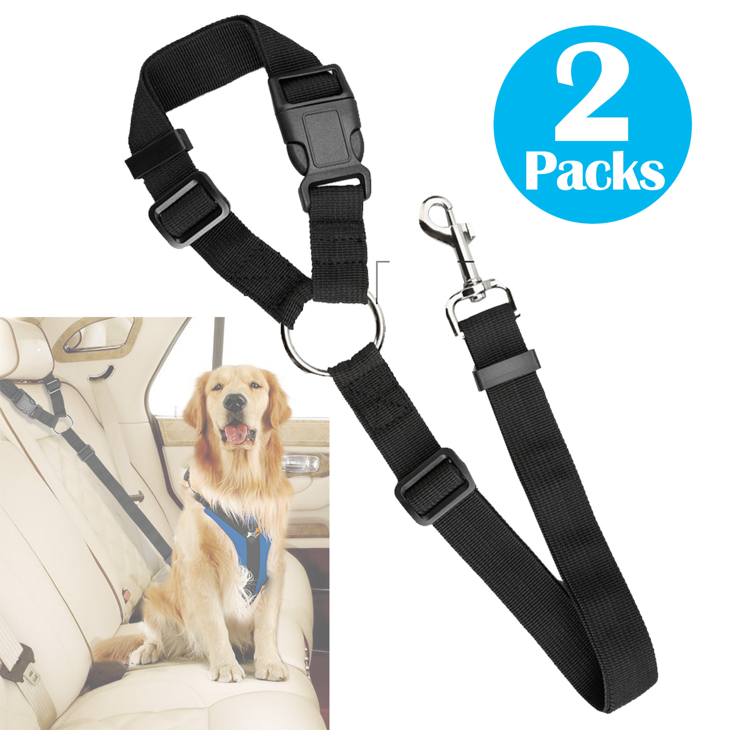2Packs Adjustable Pet Leash Seat Belt Car Safety Lead for Dogs and Cats, Seatbelt Harness for all Vehicles
