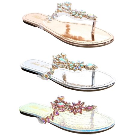 Women Lucite Clear Transparent Rhinestone Bling Flip Flop Flats Sandal Rose Gold