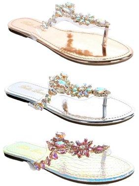 bdd56515b7 Product Image Women Lucite Clear Transparent Rhinestone Bling Flip Flop  Flats Sandal Rose Gold Flong-3