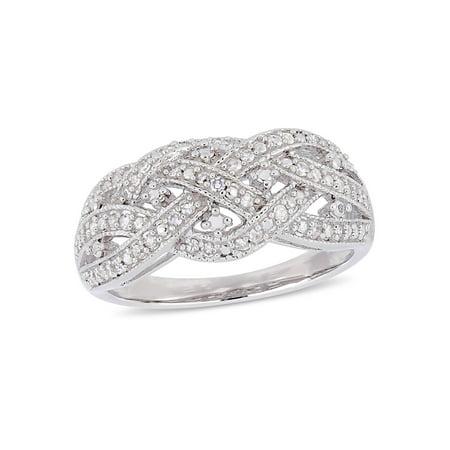 - 1/4 Carat T.W. Diamond Sterling Silver Criss-Cross Weaving Filigree Ring