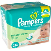 Pampers Natural Clean Baby Wipes Refills, 216 sheets