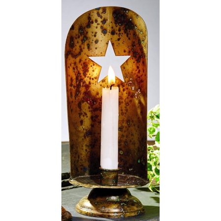 Brass Star Holder - Antique Brass Taper Candle Holder With Punched Star
