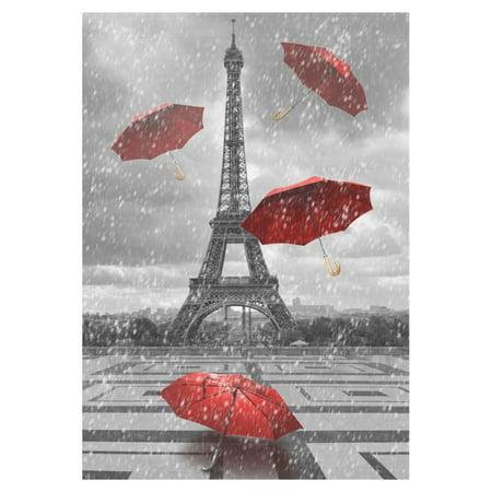 MYPOP Black and White Eiffel Tower Garden Flag Outdoor Banner 28 x 40 inch - Black And White Banner