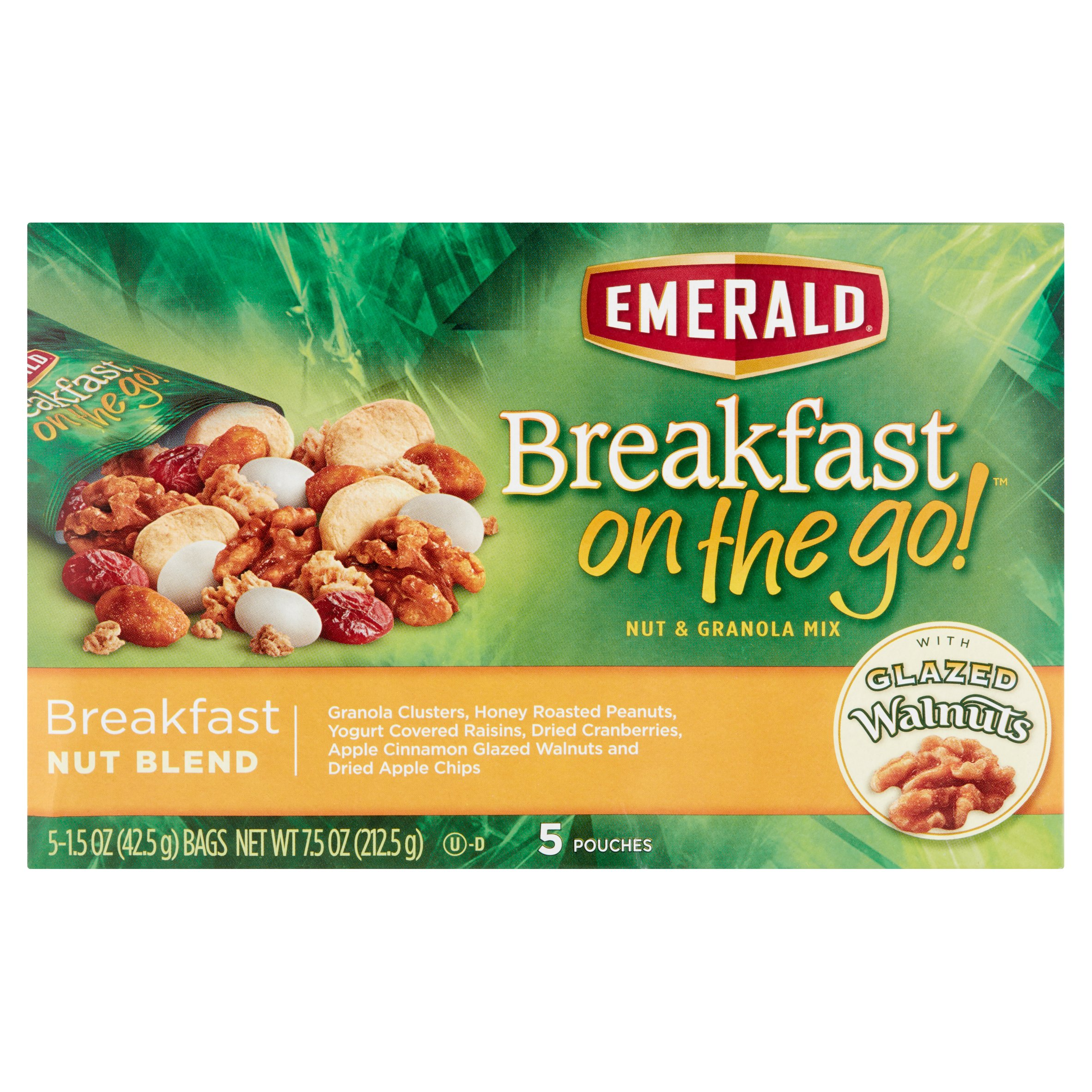 Emerald Breakfast on the Go! Nut & Granola Mix Breakfast Nut Blend Bags - 5 Count Box