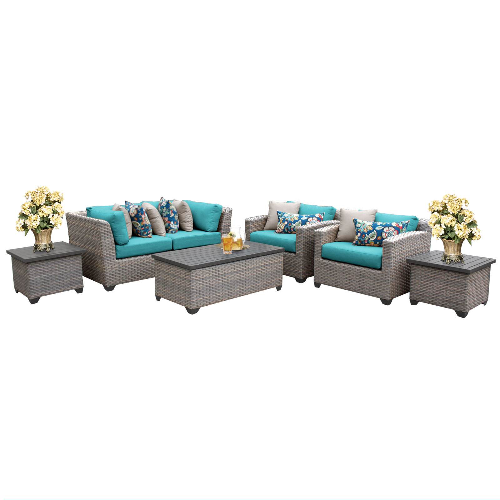Catalina 7 Piece Outdoor Wicker Patio Furniture Set 07d by TK Classics
