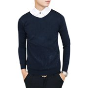 Men's V Neck Long Sleeves Hollow Out Detail Sweater (Size S / 36)