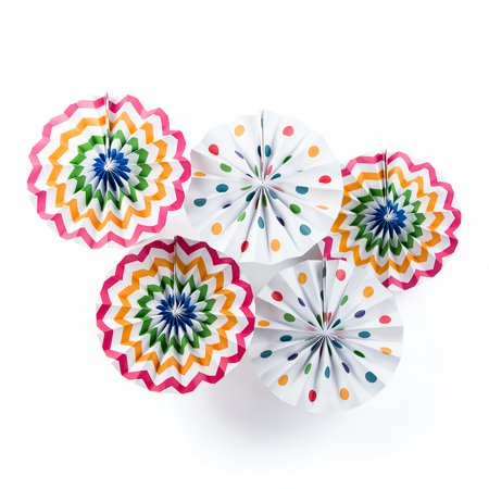 Quasimoon Fun Party Multi-Color Chevron Paper Flower Pinwheel Fan Backdrop Wall Decoration Kit (5-PACK) by PaperLanternStore (Party Fans)