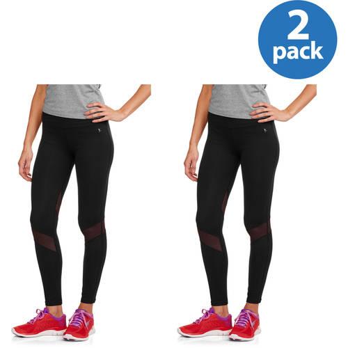 Danskin Now Women's Premium Nylon Performance Ankle Tight with Mesh Insets 2pk Value Bundle