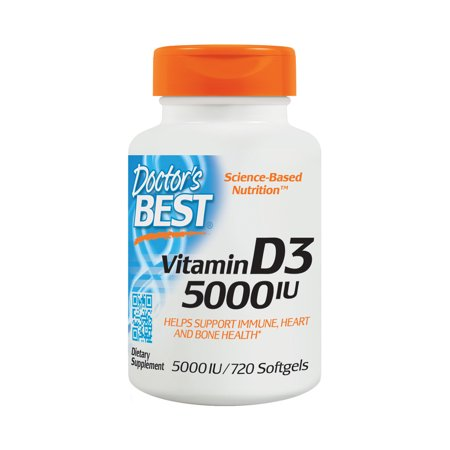 Doctor's Best Vitamin D3 5000IU, Non-GMO, Gluten Free, Soy Free, Regulates Immune Function, Supports Healthy Bones, 720 (Best Vitamin D Supplement For Depression)