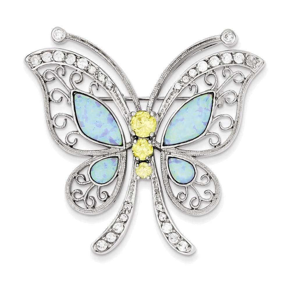 Sterling Silver Created Opal with Yellow and Clear Cubic Zirconia Butterfly Pin by