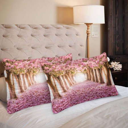 GCKG Cherry Blossom Trees Pink Floral Flower Pillow Cases Pillowcase 20x30 inches Set of 2 - image 1 of 4