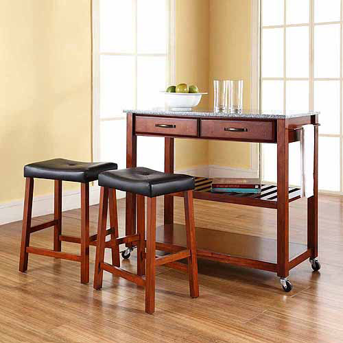 "Solid Granite Top Kitchen Cart/Island - Classic Cherry With 24"" Cherry Upholstered Saddle Stools - Crosley"