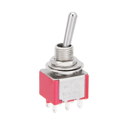 AC 125V/5A 250V/3A ON/OFF/ON 3 Position 6 Terminals DPDT Toggle Switch Ac 3 Position Toggle